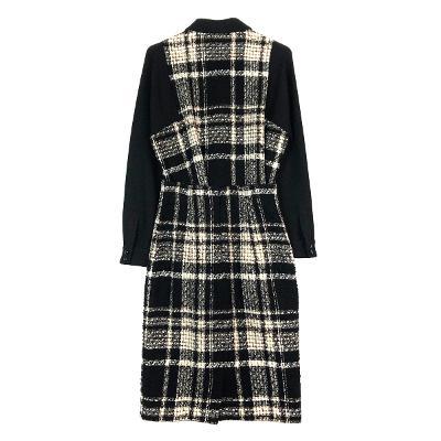 check detail shirt & check midi skirt